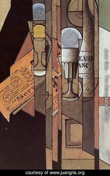 Juan Gris - Glasses, Newspaper and Bottle of Wine