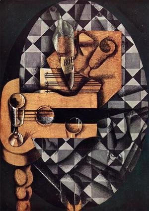 Juan Gris - Guitar, Glasses and Bottle
