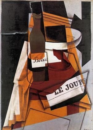 Juan Gris - Bottle, Newspaper and Fruit Bowl