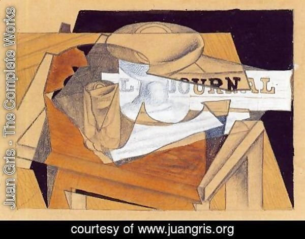 Juan Gris - Bowl, Glass and Newspaper