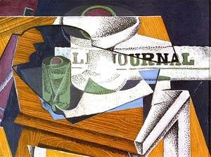 Juan Gris - Fruit Bowl, Book and Newspaper