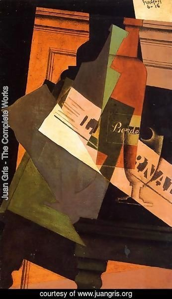 Juan Gris - Bottle, Glass and Newspaper
