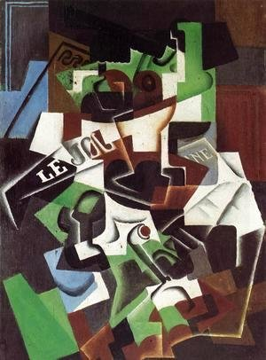 Juan Gris - Fruit Bowl, Pipe and Newspaper