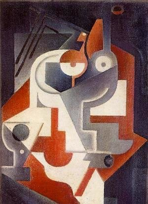 Juan Gris - Newspaper, Glass and Pear