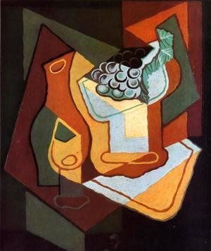 Juan Gris - Bottle, Wine Glass and Fruit Bowl