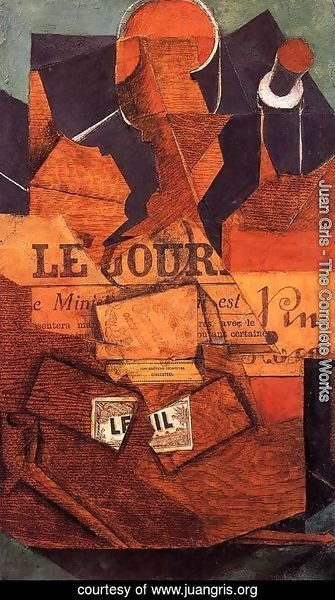 Juan Gris - Tobacco, Newspaper and Bottle of Wine