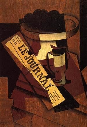 Juan Gris - Fruit Dish, Glass and Newspaper