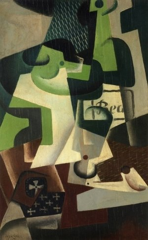 Juan Gris - Bottle of Beaune and a Fruit Dish
