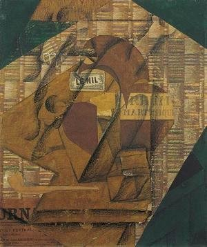 Juan Gris - Bottle of Rum and Newspaper