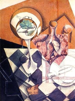 Juan Gris - Fruit Bowl with Bottle 1914