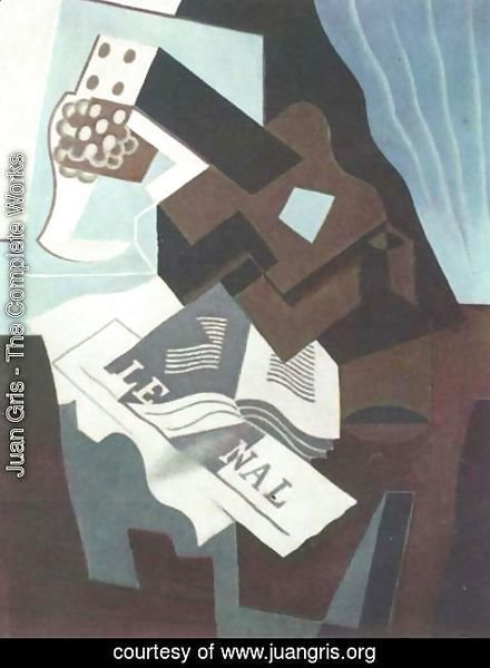Juan Gris - Still Life with Guitar, book and newspaper
