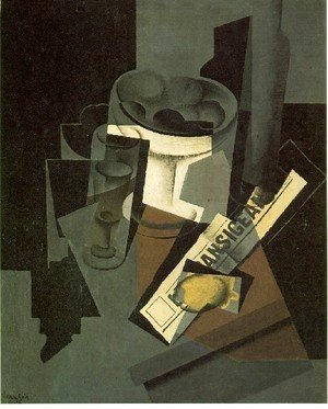 Juan Gris - Fruit Dish Glass And Lemon Still Life With Newspaper